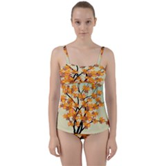 Branches Field Flora Forest Fruits Twist Front Tankini Set