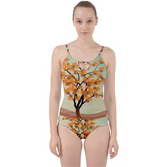 Branches Field Flora Forest Fruits Cut Out Top Tankini Set