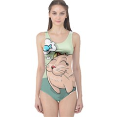 Cat Animal Fish Thinking Cute Pet One Piece Swimsuit