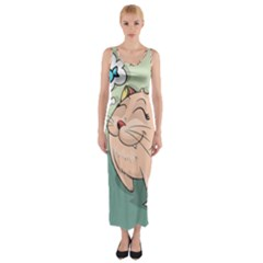Cat Animal Fish Thinking Cute Pet Fitted Maxi Dress