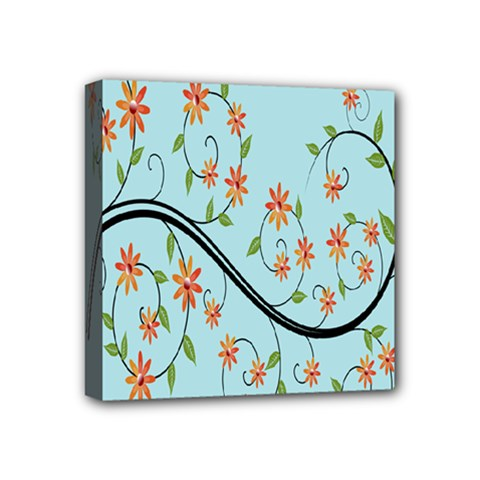 Branch Floral Flourish Flower Mini Canvas 4  X 4