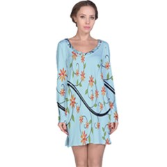 Branch Floral Flourish Flower Long Sleeve Nightdress