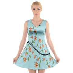 Branch Floral Flourish Flower V Neck Sleeveless Skater Dress