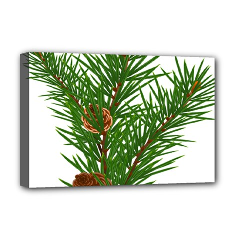 Branch Floral Green Nature Pine Deluxe Canvas 18  X 12