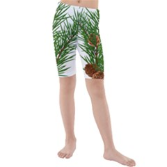 Branch Floral Green Nature Pine Kids  Mid Length Swim Shorts