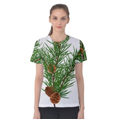 Branch Floral Green Nature Pine Women s Cotton Tee
