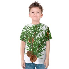Branch Floral Green Nature Pine Kids  Cotton Tee