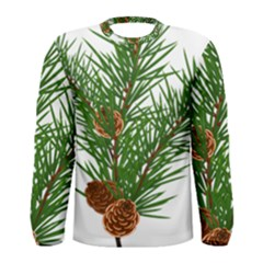 Branch Floral Green Nature Pine Men s Long Sleeve Tee