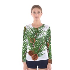 Branch Floral Green Nature Pine Women s Long Sleeve Tee