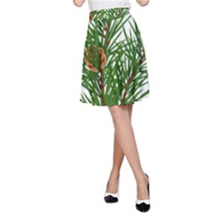Branch Floral Green Nature Pine A Line Skirt