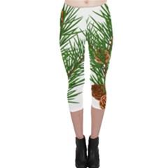 Branch Floral Green Nature Pine Capri Leggings