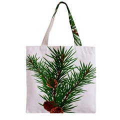 Branch Floral Green Nature Pine Zipper Grocery Tote Bag