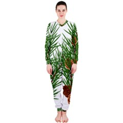Branch Floral Green Nature Pine Onepiece Jumpsuit (ladies)