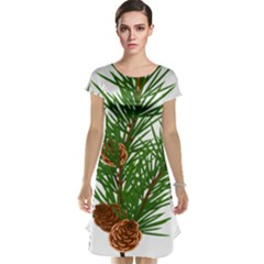 Branch Floral Green Nature Pine Cap Sleeve Nightdress