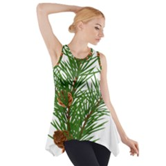 Branch Floral Green Nature Pine Side Drop Tank Tunic