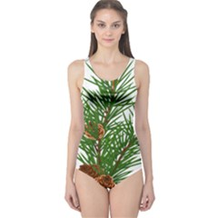 Branch Floral Green Nature Pine One Piece Swimsuit