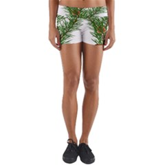 Branch Floral Green Nature Pine Yoga Shorts