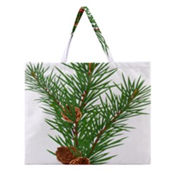 Branch Floral Green Nature Pine Zipper Large Tote Bag