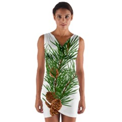 Branch Floral Green Nature Pine Wrap Front Bodycon Dress