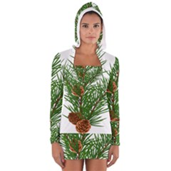 Branch Floral Green Nature Pine Long Sleeve Hooded T Shirt