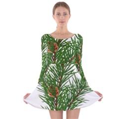 Branch Floral Green Nature Pine Long Sleeve Velvet Skater Dress