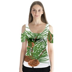 Branch Floral Green Nature Pine Butterfly Sleeve Cutout Tee
