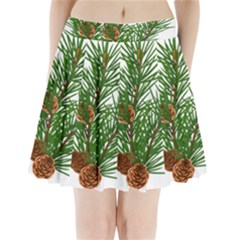 Branch Floral Green Nature Pine Pleated Mini Skirt
