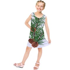 Branch Floral Green Nature Pine Kids  Tunic Dress