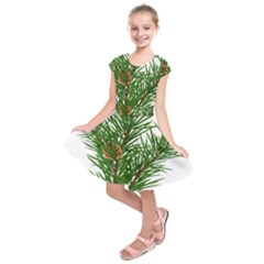 Branch Floral Green Nature Pine Kids  Short Sleeve Dress