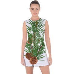 Branch Floral Green Nature Pine Lace Up Front Bodycon Dress
