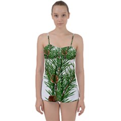 Branch Floral Green Nature Pine Babydoll Tankini Set