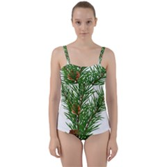 Branch Floral Green Nature Pine Twist Front Tankini Set