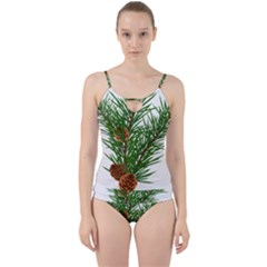 Branch Floral Green Nature Pine Cut Out Top Tankini Set
