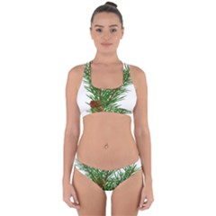 Branch Floral Green Nature Pine Cross Back Hipster Bikini Set