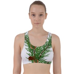 Branch Floral Green Nature Pine Back Weave Sports Bra