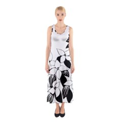 Ecological Floral Flowers Leaf Sleeveless Maxi Dress