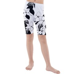 Ecological Floral Flowers Leaf Kids  Mid Length Swim Shorts