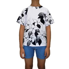 Ecological Floral Flowers Leaf Kids  Short Sleeve Swimwear