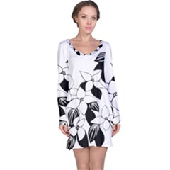 Ecological Floral Flowers Leaf Long Sleeve Nightdress