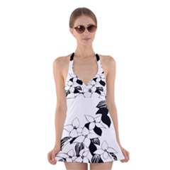 Ecological Floral Flowers Leaf Halter Swimsuit Dress