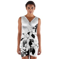 Ecological Floral Flowers Leaf Wrap Front Bodycon Dress