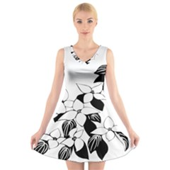 Ecological Floral Flowers Leaf V Neck Sleeveless Skater Dress