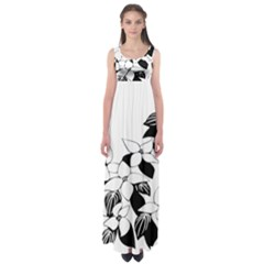 Ecological Floral Flowers Leaf Empire Waist Maxi Dress