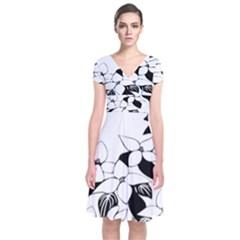 Ecological Floral Flowers Leaf Short Sleeve Front Wrap Dress