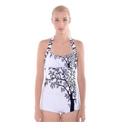 Flowers Landscape Nature Plant Boyleg Halter Swimsuit
