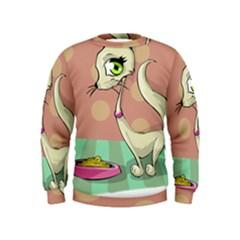 Cat Food Eating Breakfast Gourmet Kids  Sweatshirt