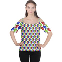 Colorful Shiny Eat Edible Food Cutout Shoulder Tee
