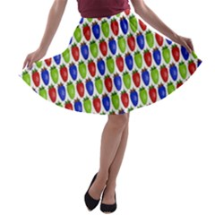 Colorful Shiny Eat Edible Food A Line Skater Skirt