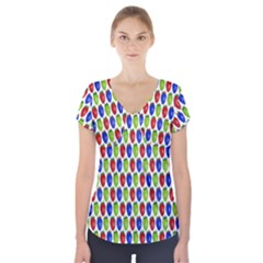 Colorful Shiny Eat Edible Food Short Sleeve Front Detail Top