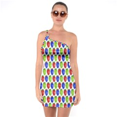 Colorful Shiny Eat Edible Food One Soulder Bodycon Dress